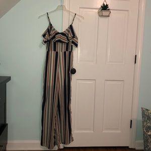 Striped bodysuit off the shoulder